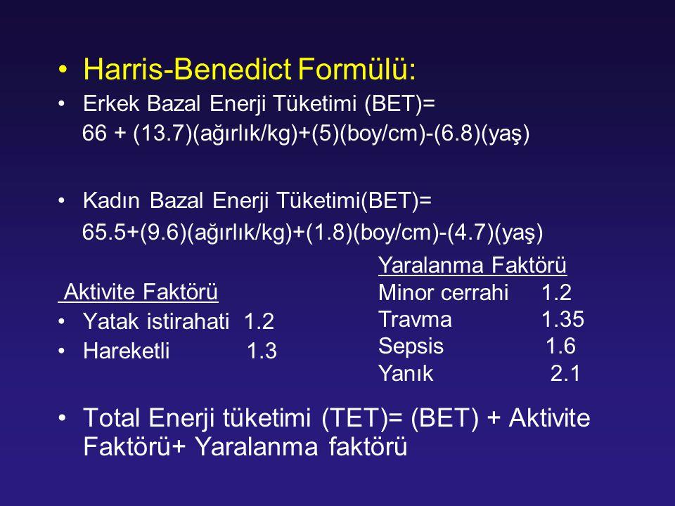 Harris-Benedict Formülü: