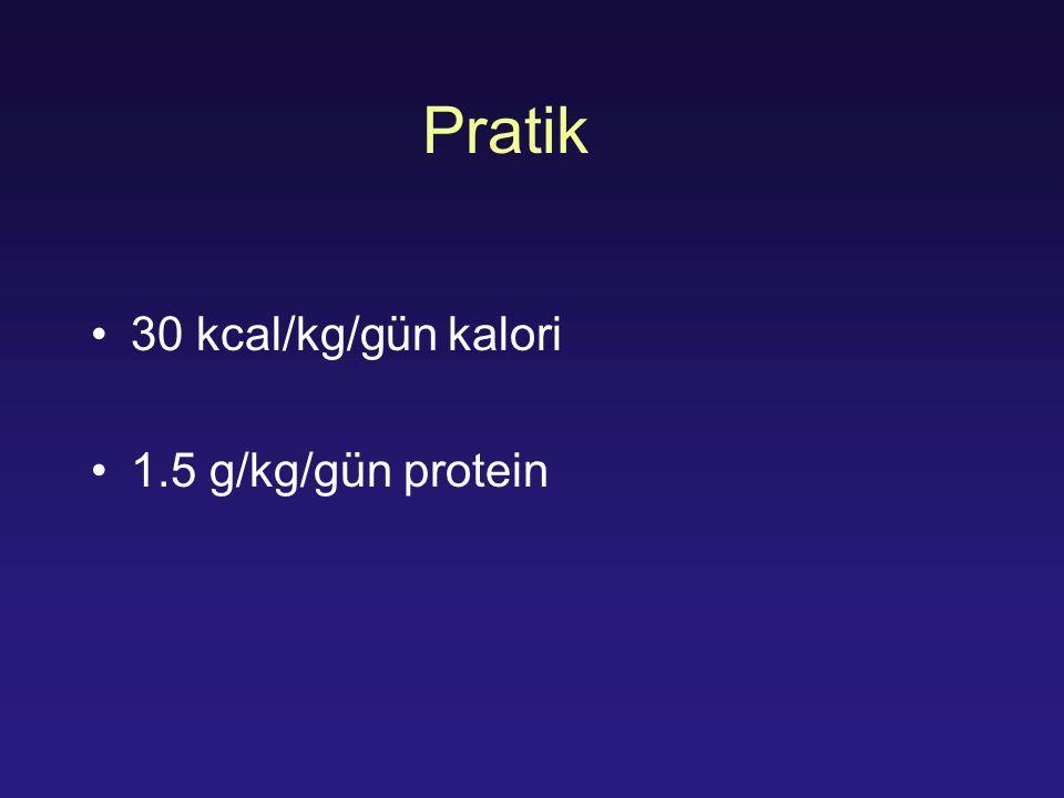 Pratik 30 kcal/kg/gün kalori 1.5 g/kg/gün protein