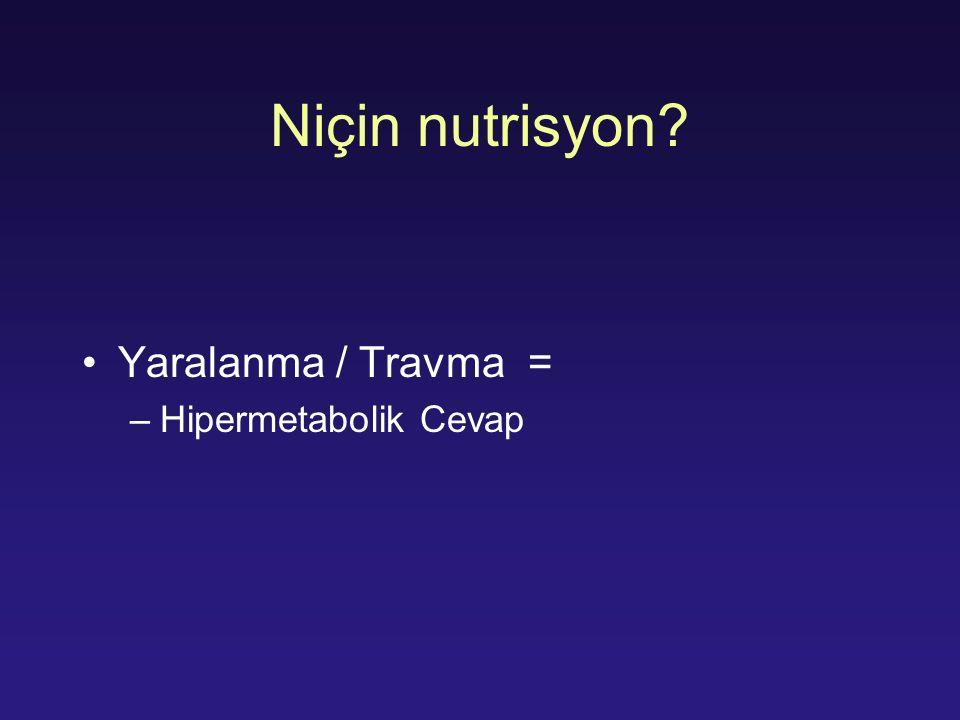 Niçin nutrisyon Yaralanma / Travma = Hipermetabolik Cevap