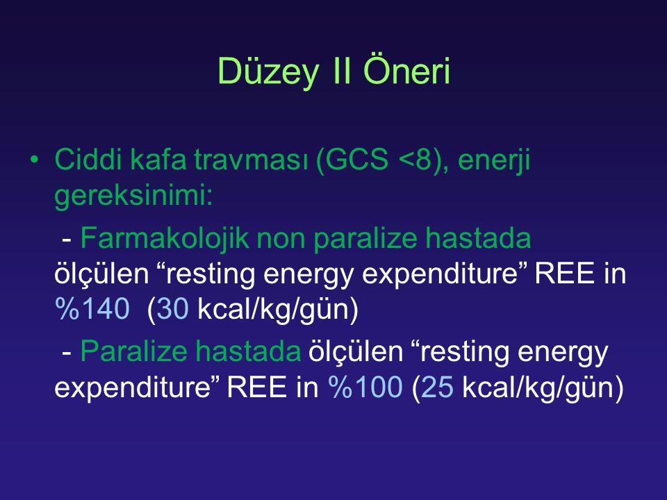Düzey II Öneri Ciddi kafa travması (GCS <8), enerji gereksinimi: