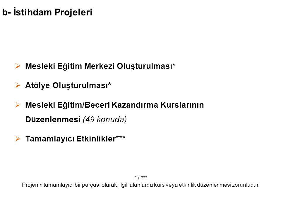 b- İstihdam Projeleri Mesleki Eğitim Merkezi Oluşturulması*
