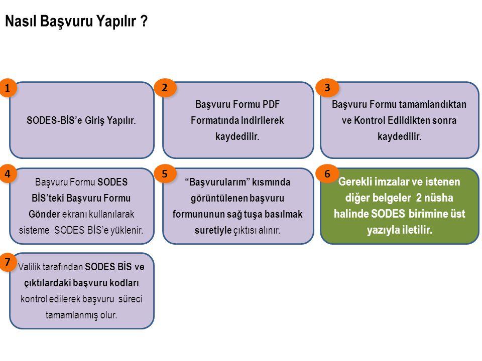 Nasıl Başvuru Yapılır SODES-BİS'e Giriş Yapılır. 1. Başvuru Formu PDF Formatında indirilerek kaydedilir.