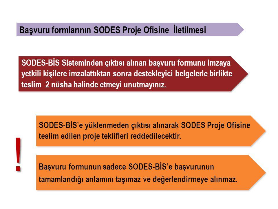 ! Başvuru formlarının SODES Proje Ofisine İletilmesi