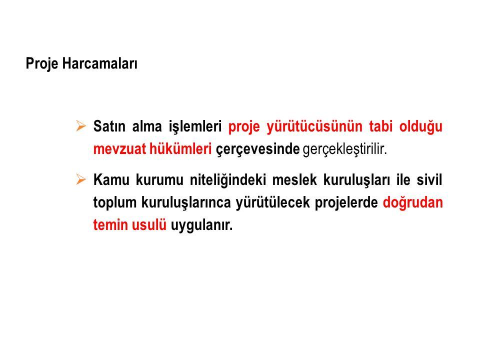 Proje Harcamaları Satın alma işlemleri proje yürütücüsünün tabi olduğu mevzuat hükümleri çerçevesinde gerçekleştirilir.
