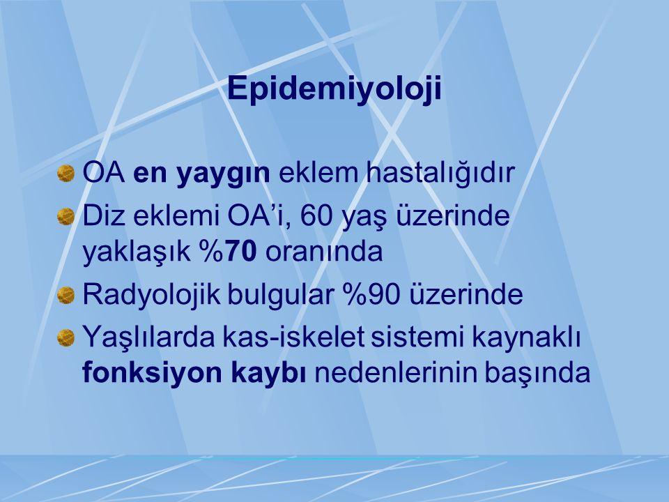 Epidemiyoloji OA en yaygın eklem hastalığıdır
