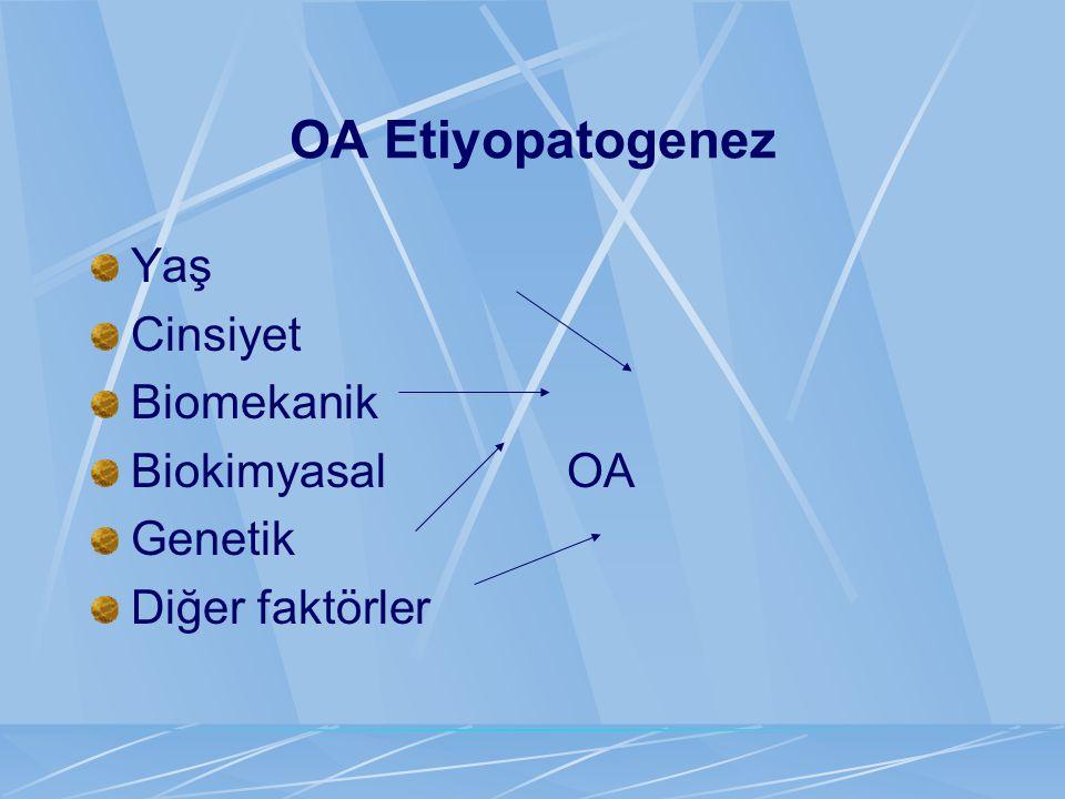 OA Etiyopatogenez Yaş Cinsiyet Biomekanik Biokimyasal OA Genetik