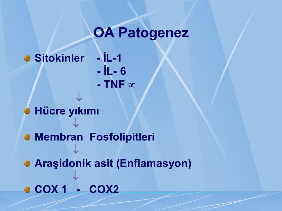 OA Patogenez Sitokinler - İL-1 - İL- 6 - TNF   Hücre yıkımı