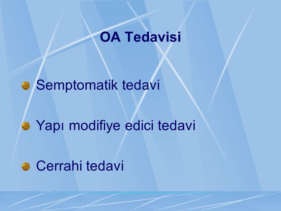 OA Tedavisi Semptomatik tedavi Yapı modifiye edici tedavi Cerrahi tedavi