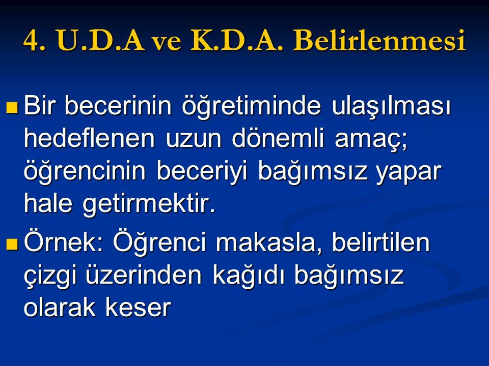 4. U.D.A ve K.D.A. Belirlenmesi