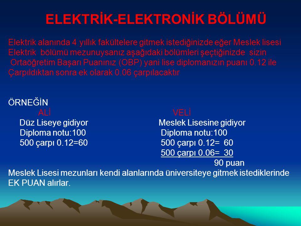 ELEKTRİK-ELEKTRONİK BÖLÜMÜ