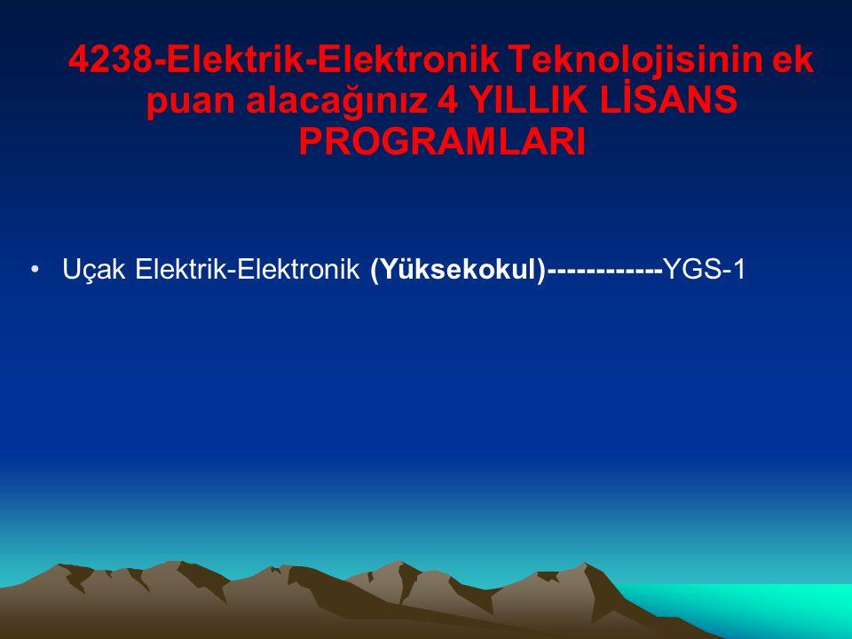 4238-Elektrik-Elektronik Teknolojisinin ek puan alacağınız 4 YILLIK LİSANS PROGRAMLARI