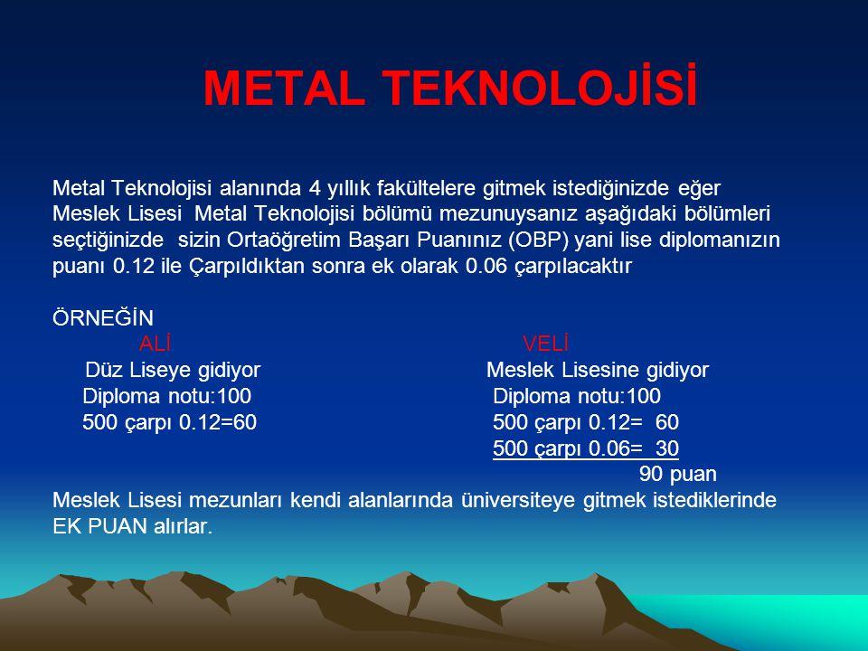 METAL TEKNOLOJİSİ Metal Teknolojisi alanında 4 yıllık fakültelere gitmek istediğinizde eğer.