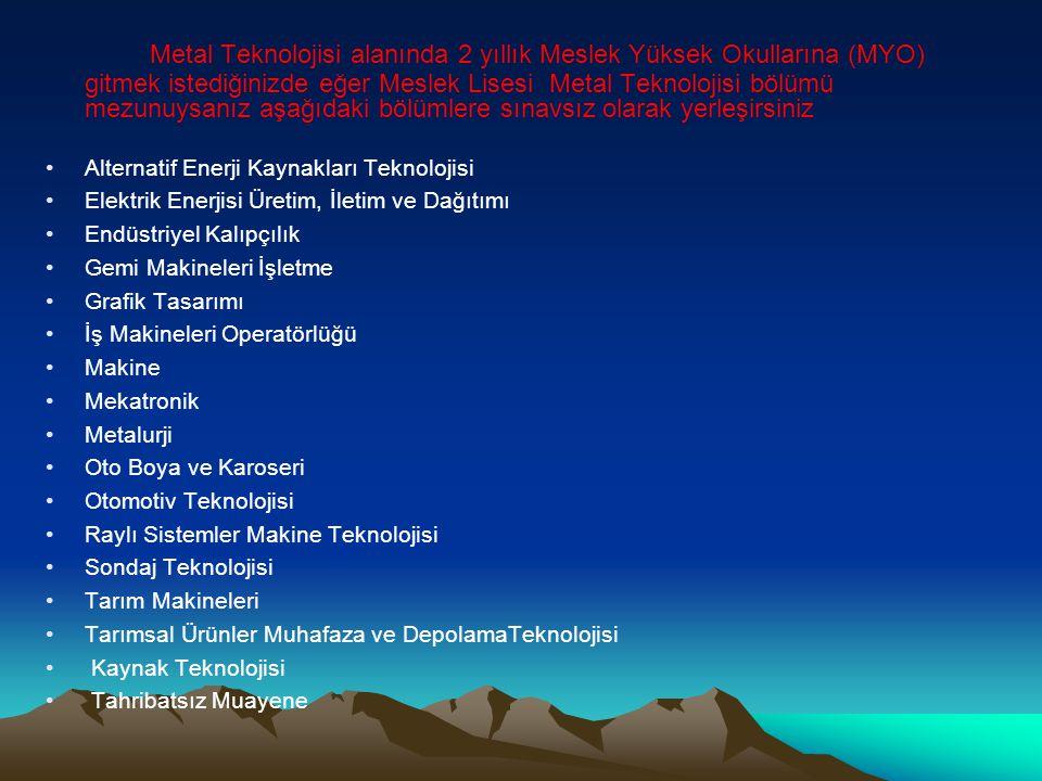 Metal Teknolojisi alanında 2 yıllık Meslek Yüksek Okullarına (MYO) gitmek istediğinizde eğer Meslek Lisesi Metal Teknolojisi bölümü mezunuysanız aşağıdaki bölümlere sınavsız olarak yerleşirsiniz