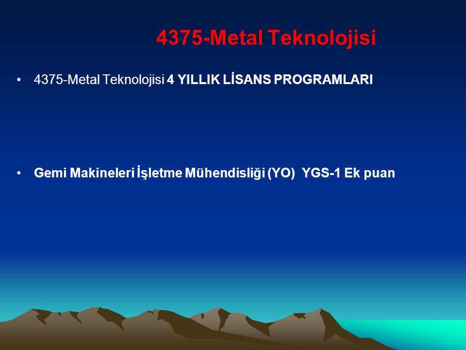 4375-Metal Teknolojisi 4375-Metal Teknolojisi 4 YILLIK LİSANS PROGRAMLARI.
