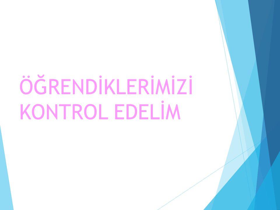 ÖĞRENDİKLERİMİZİ KONTROL EDELİM