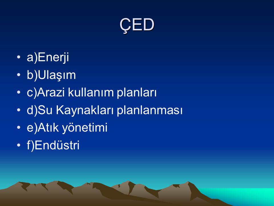 ÇED a)Enerji b)Ulaşım c)Arazi kullanım planları