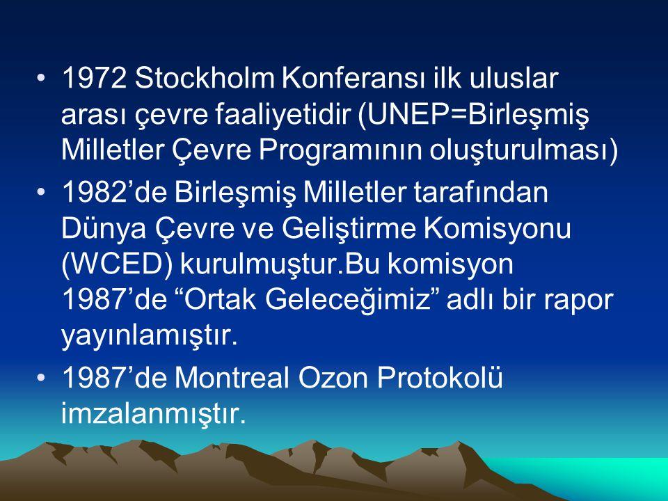 1972 Stockholm Konferansı ilk uluslar arası çevre faaliyetidir (UNEP=Birleşmiş Milletler Çevre Programının oluşturulması)