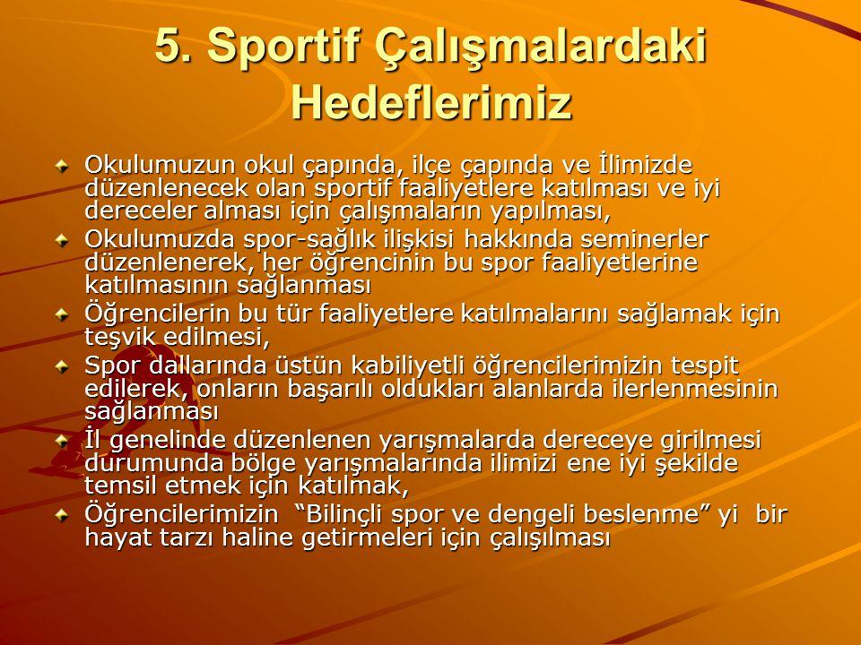 5. Sportif Çalışmalardaki Hedeflerimiz
