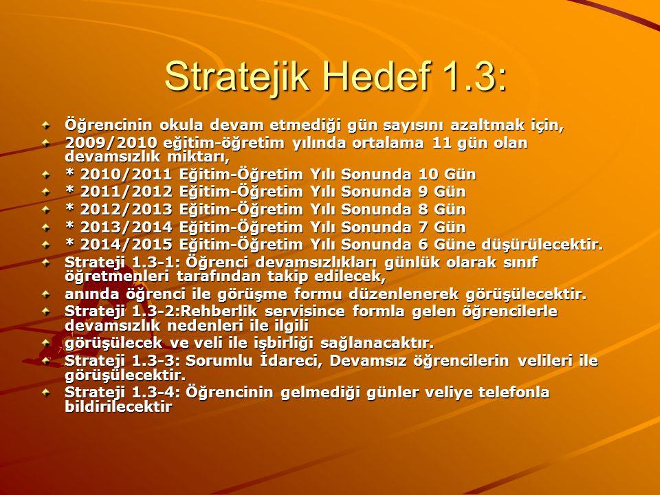 Stratejik Hedef 1.3: Öğrencinin okula devam etmediği gün sayısını azaltmak için,