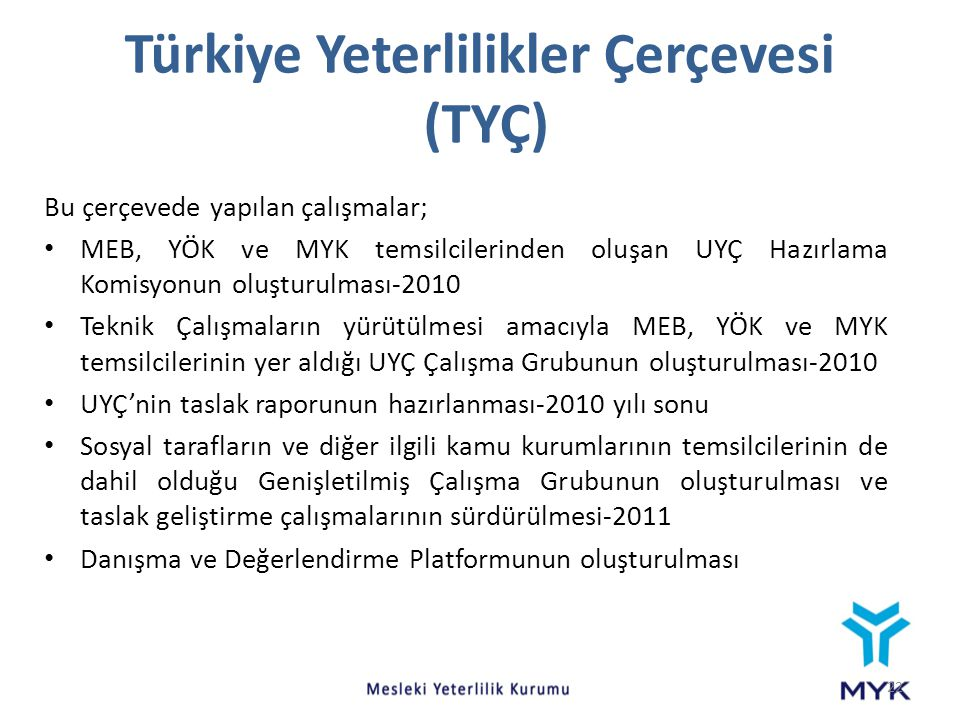 Türkiye Yeterlilikler Çerçevesi (TYÇ)