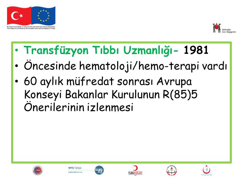 Transfüzyon Tıbbı Uzmanlığı- 1981