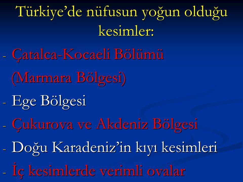 Türkiye'de nüfusun yoğun olduğu kesimler: