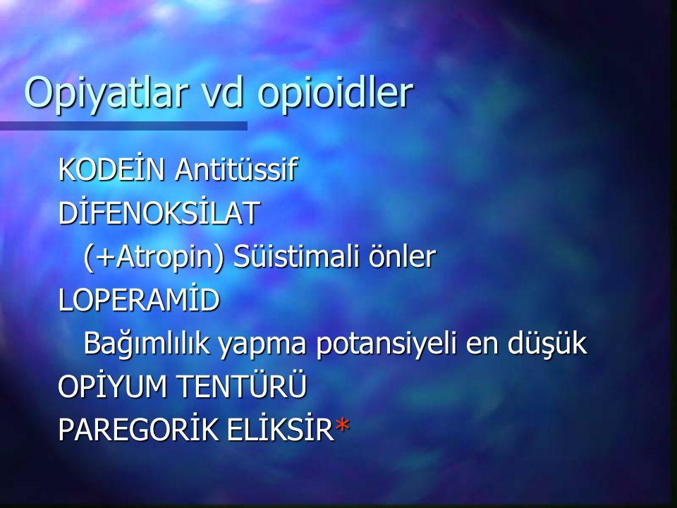 Opiyatlar vd opioidler
