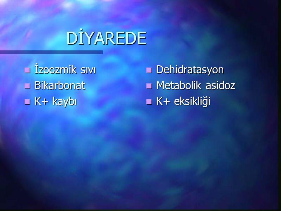 DİYAREDE İzoozmik sıvı Bikarbonat K+ kaybı Dehidratasyon
