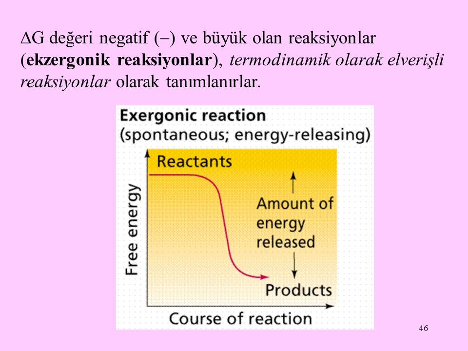 G değeri negatif () ve büyük olan reaksiyonlar (ekzergonik reaksiyonlar), termodinamik olarak elverişli reaksiyonlar olarak tanımlanırlar.