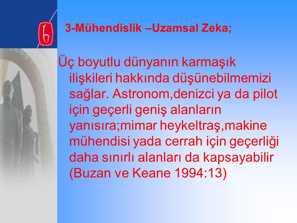3-Mühendislik –Uzamsal Zeka;