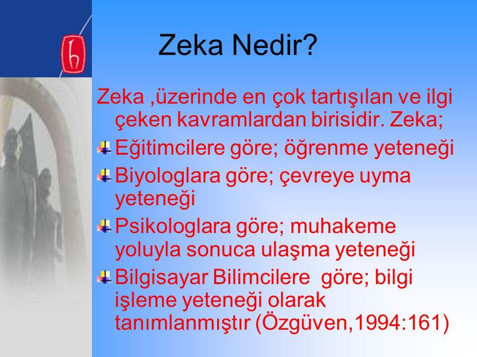 Zeka Nedir Zeka ,üzerinde en çok tartışılan ve ilgi çeken kavramlardan birisidir. Zeka; Eğitimcilere göre; öğrenme yeteneği.