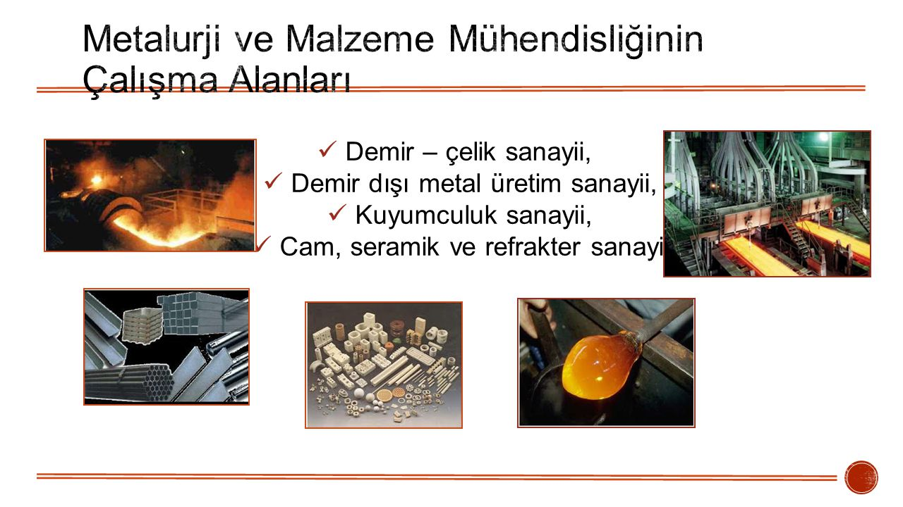 Metalurji ve Malzeme Mühendisliğinin Çalışma Alanları