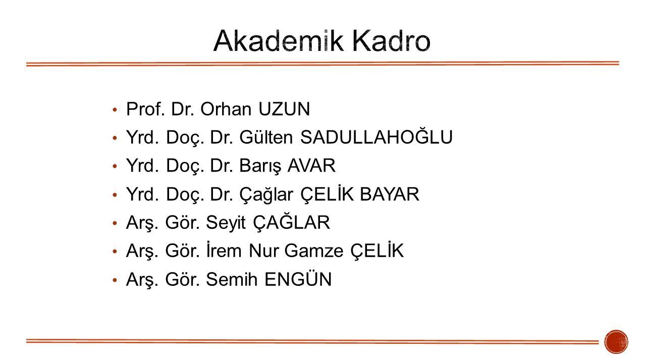 Akademik Kadro Prof. Dr. Orhan UZUN Yrd. Doç. Dr. Gülten SADULLAHOĞLU