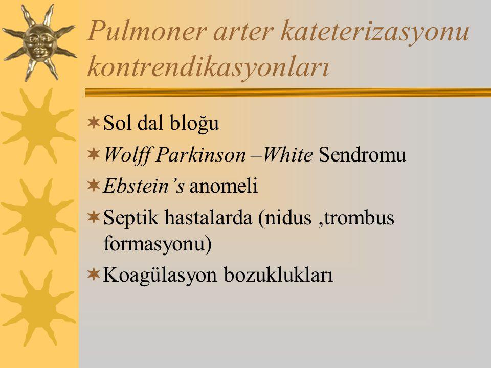 Pulmoner arter kateterizasyonu kontrendikasyonları