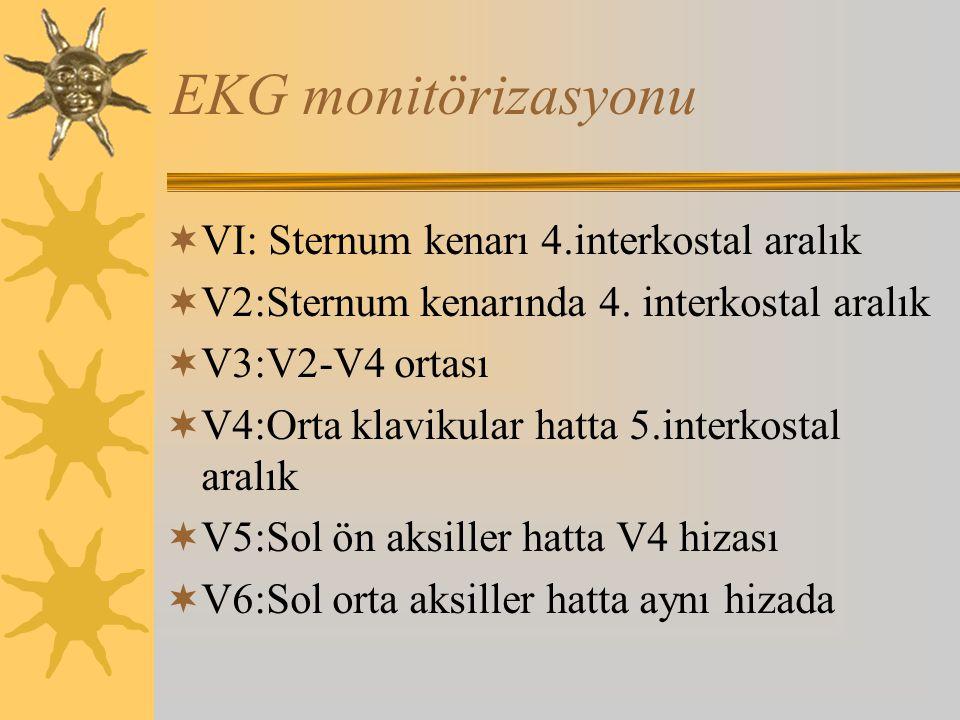 EKG monitörizasyonu VI: Sternum kenarı 4.interkostal aralık
