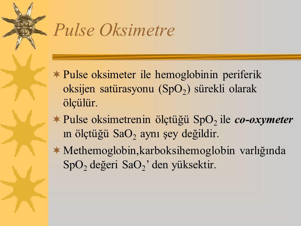 Pulse Oksimetre Pulse oksimeter ile hemoglobinin periferik oksijen satürasyonu (SpO2) sürekli olarak ölçülür.