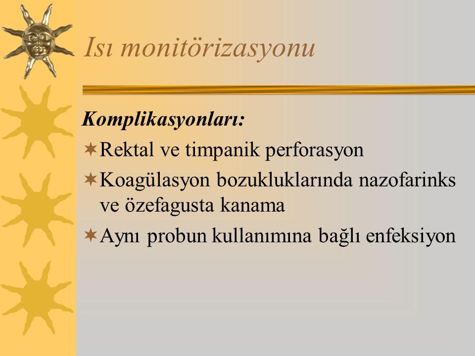 Isı monitörizasyonu Komplikasyonları: Rektal ve timpanik perforasyon