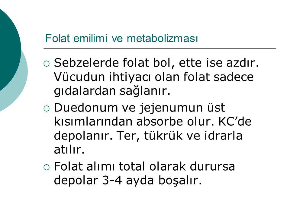 Folat emilimi ve metabolizması