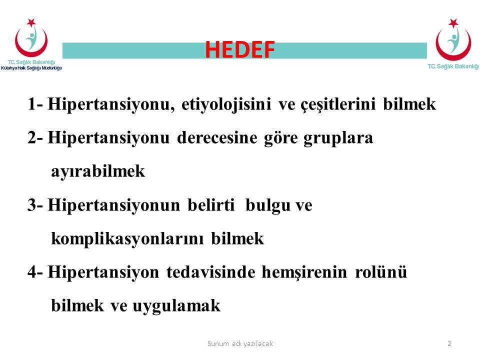 HEDEF 1- Hipertansiyonu, etiyolojisini ve çeşitlerini bilmek