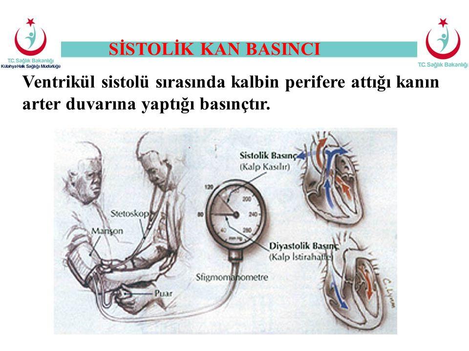SİSTOLİK KAN BASINCI Ventrikül sistolü sırasında kalbin perifere attığı kanın arter duvarına yaptığı basınçtır.