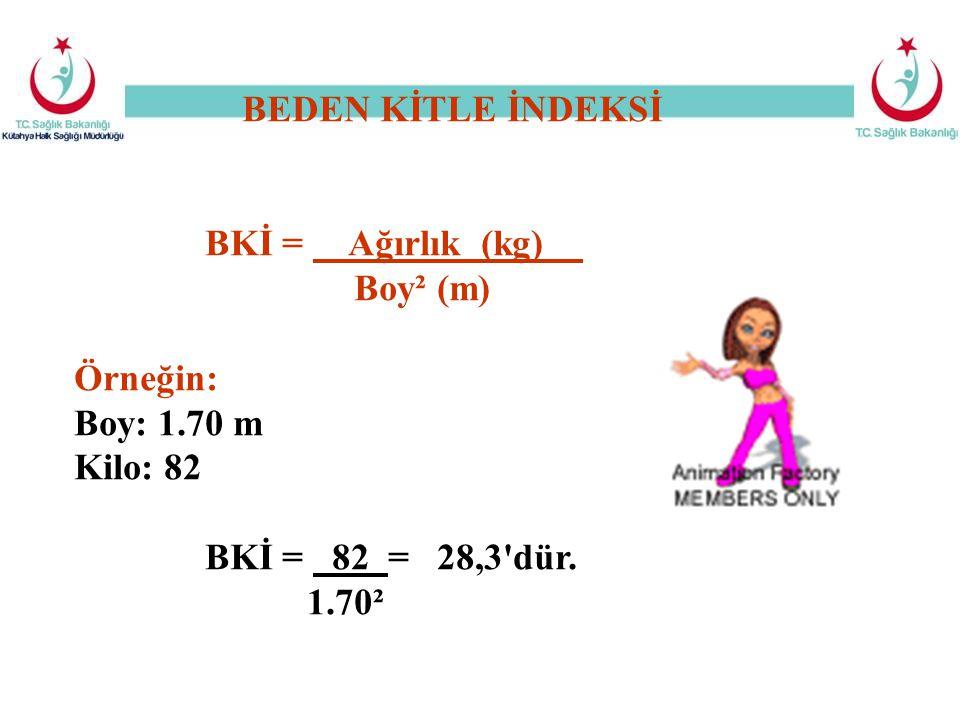 BEDEN KİTLE İNDEKSİ BKİ = Ağırlık (kg) Boy² (m) Örneğin: Boy: 1.70 m.