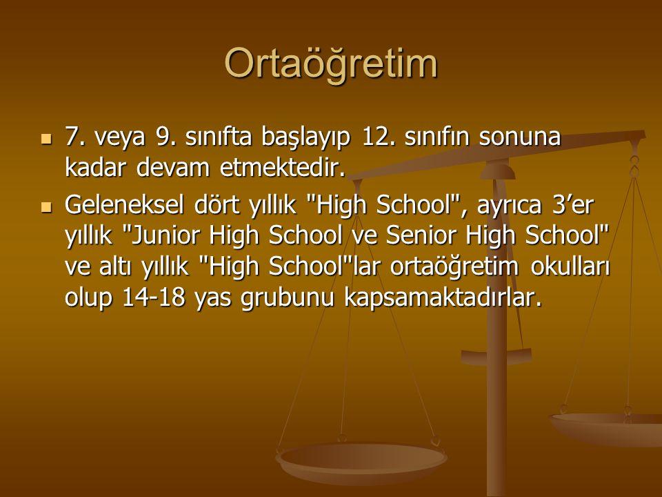 Ortaöğretim 7. veya 9. sınıfta başlayıp 12. sınıfın sonuna kadar devam etmektedir.