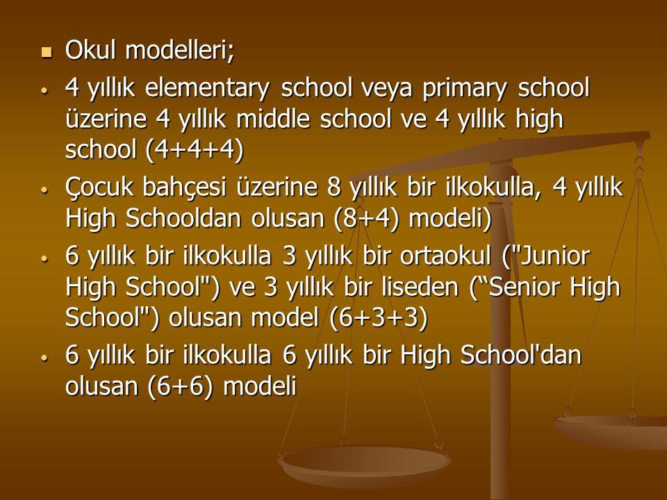 Okul modelleri; 4 yıllık elementary school veya primary school üzerine 4 yıllık middle school ve 4 yıllık high school (4+4+4)