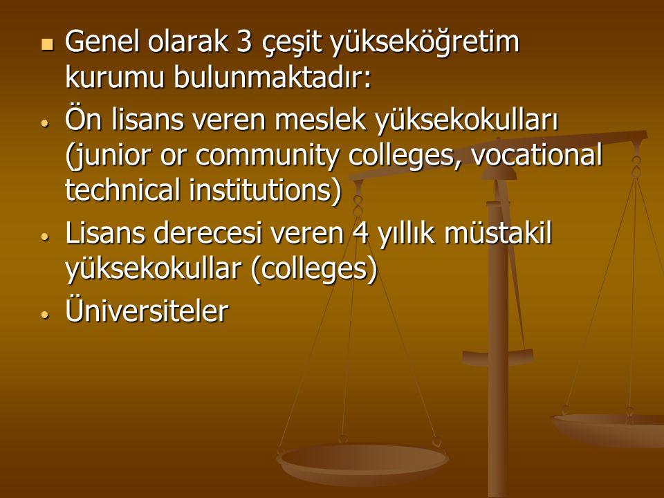 Genel olarak 3 çeşit yükseköğretim kurumu bulunmaktadır: