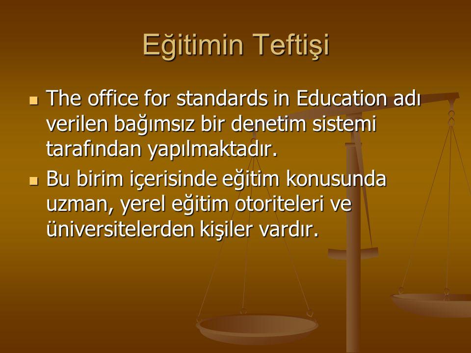 Eğitimin Teftişi The office for standards in Education adı verilen bağımsız bir denetim sistemi tarafından yapılmaktadır.