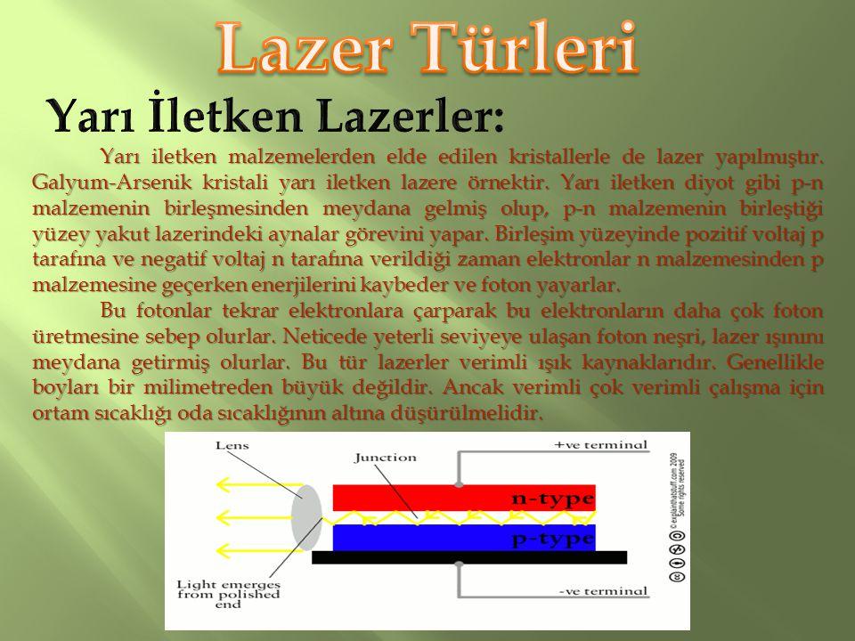 Lazer Türleri Yarı İletken Lazerler: