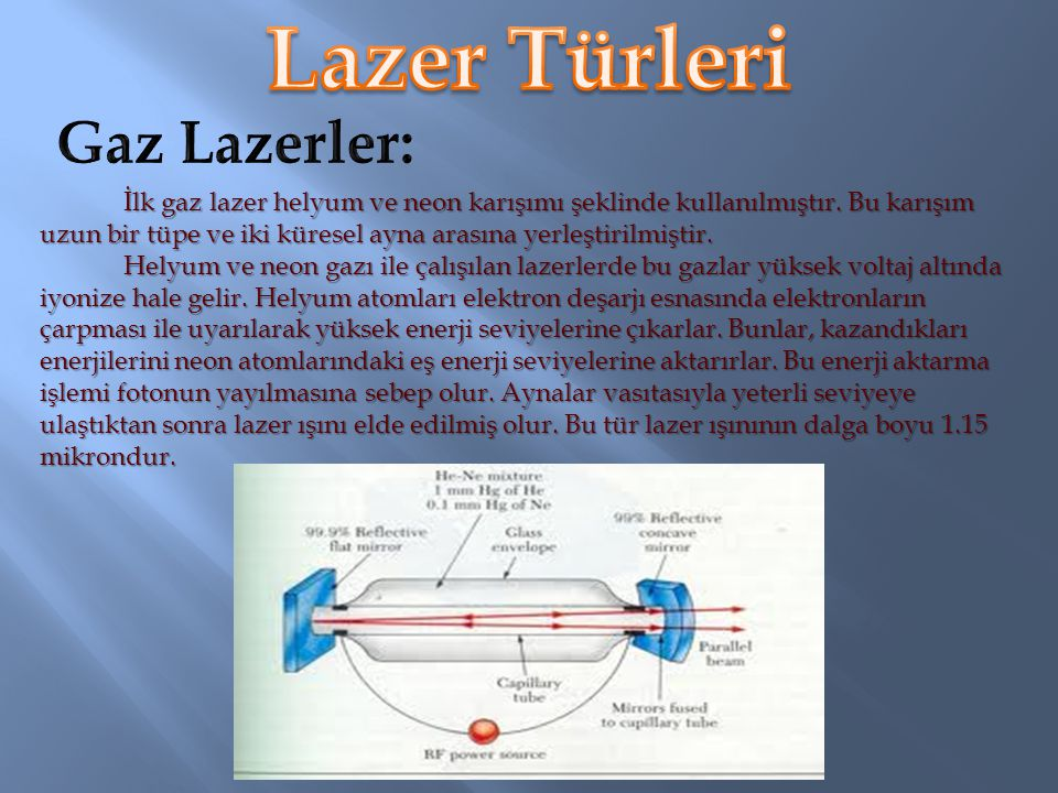 Lazer Türleri Gaz Lazerler: