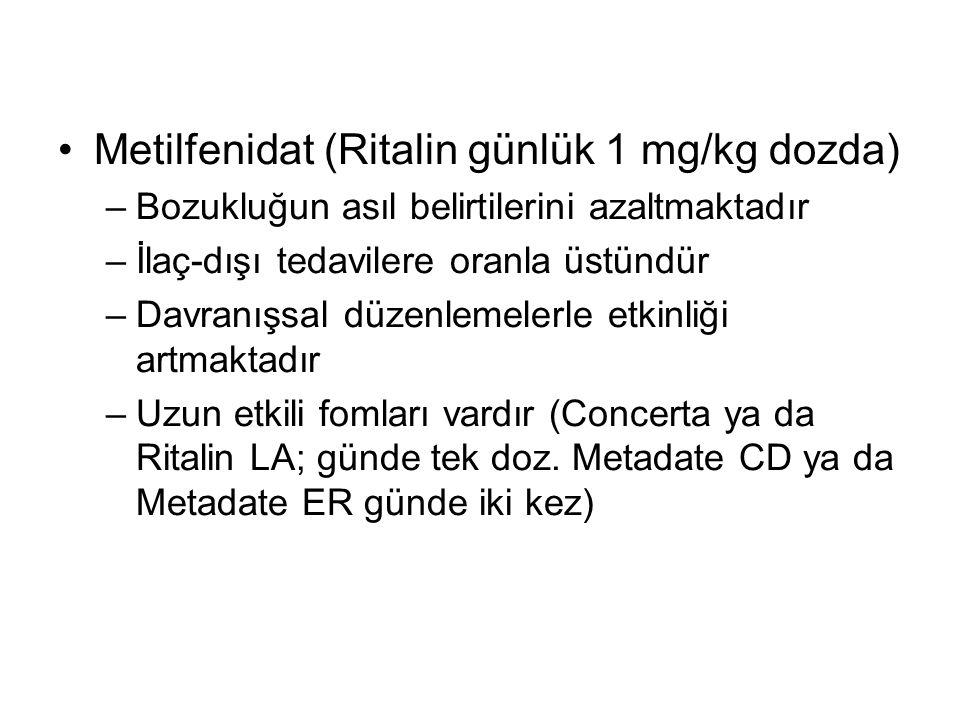 Metilfenidat (Ritalin günlük 1 mg/kg dozda)