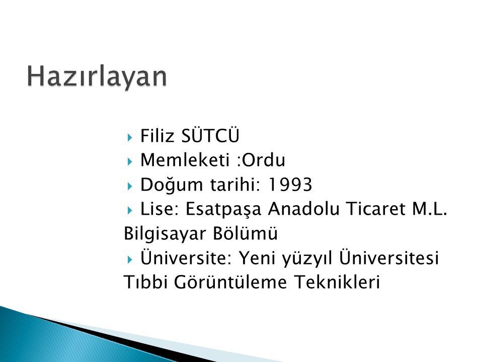 Hazırlayan Filiz SÜTCÜ Memleketi :Ordu Doğum tarihi: 1993