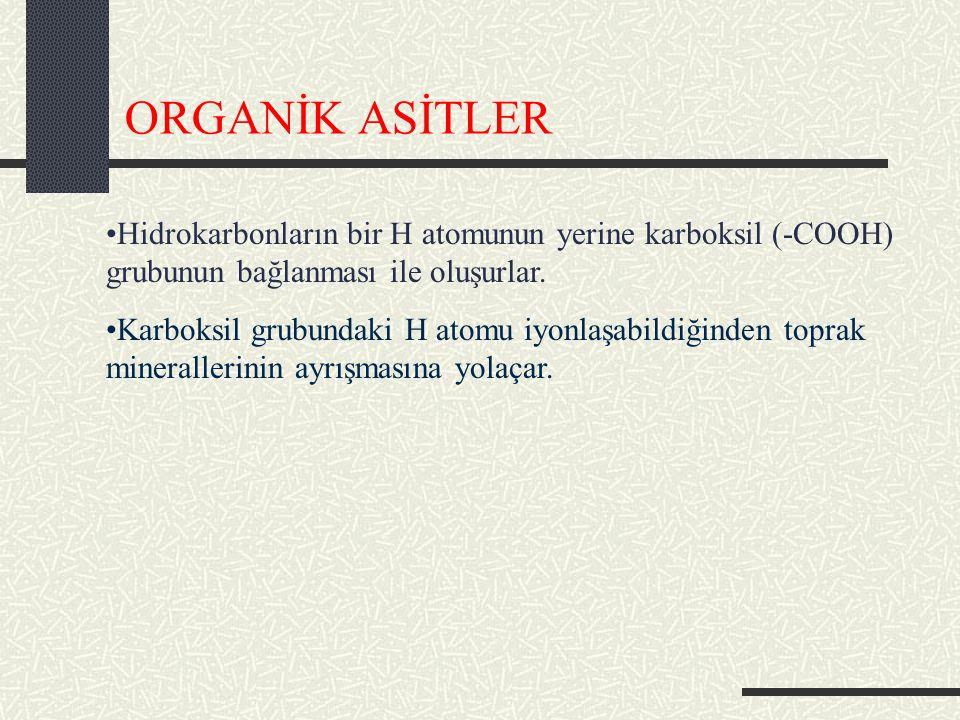 ORGANİK ASİTLER Hidrokarbonların bir H atomunun yerine karboksil (-COOH) grubunun bağlanması ile oluşurlar.